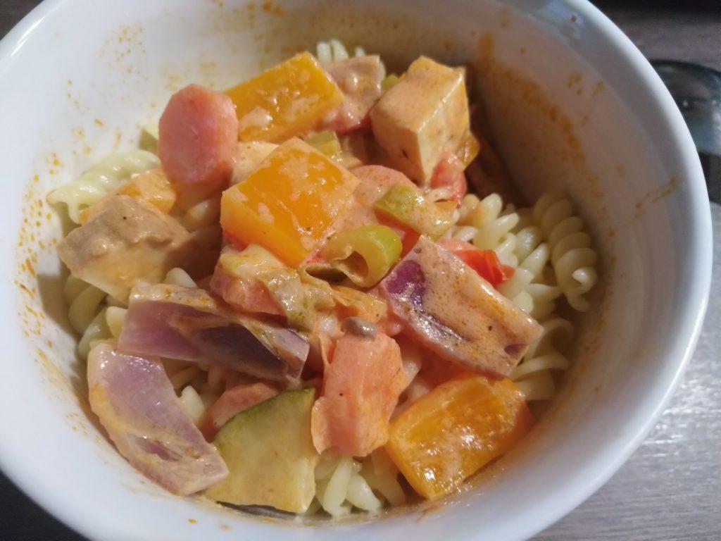 Gemüsepfanne mit frittiertem Tofu 2