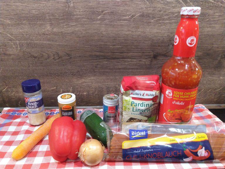 Chili-Spaghetti mit Linsen und Gemüse 1